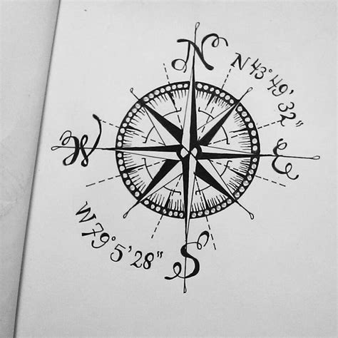 coordinates tattoo designs compass coordinate pencil and in color