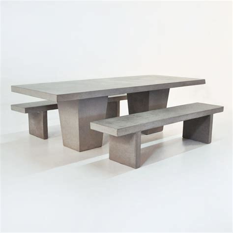 concrete table and benches outdoor dining set tapered concrete table and 2 benches