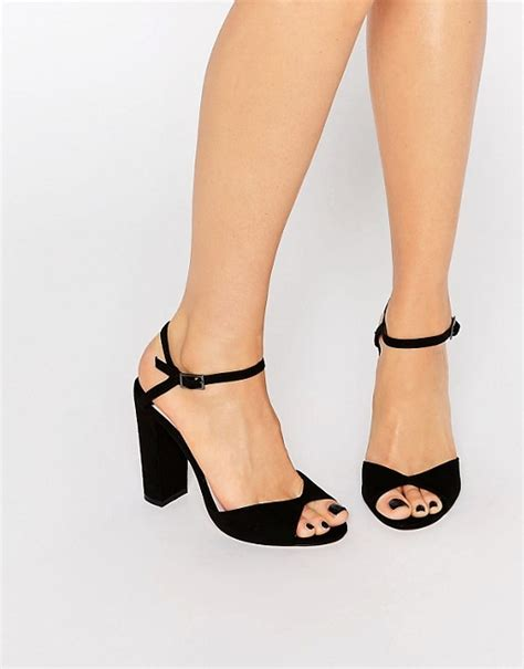Faiths Heels by Faith Faith Lenny Black Block Heel Sandals