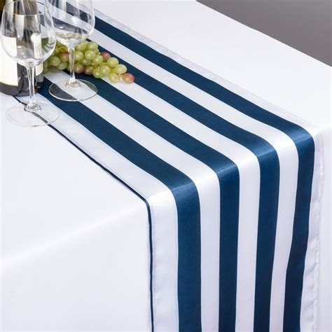 and white striped table runner 14 x 108 in navy blue white striped satin table runner