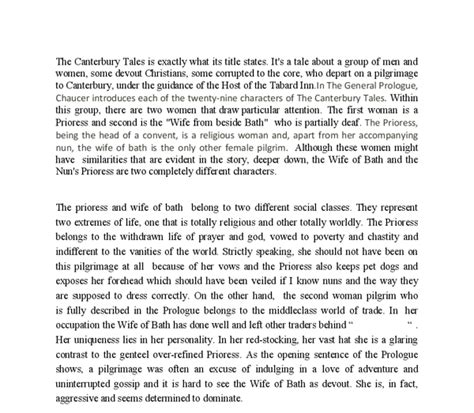 Chaucer Essay by Of Bath And Prioress Essay