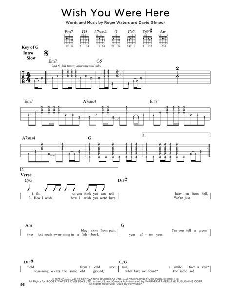 Wish You Were By Welwear by Wish You Were Here Sheet Pink Floyd Guitar Lead