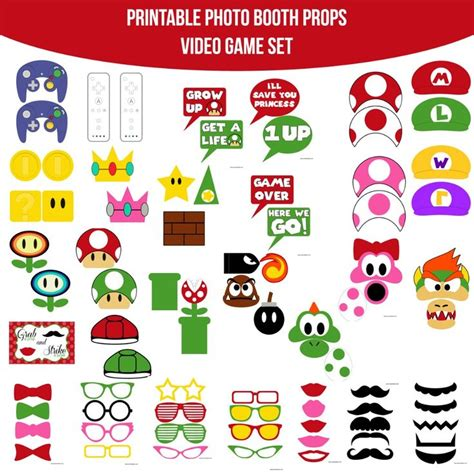 printable photo booth props pinterest 8 best video games party images on pinterest birthdays