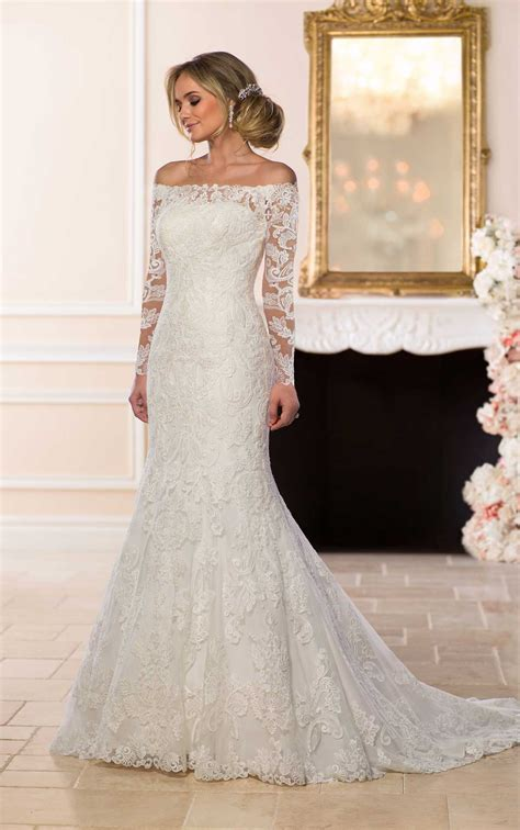 brautkleid halblang the shoulder lace wedding dress stella york wedding