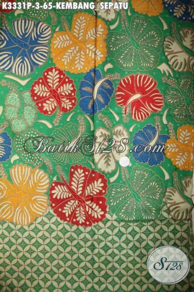 kain batik warna hijau motif kembang sepatu bahan busana