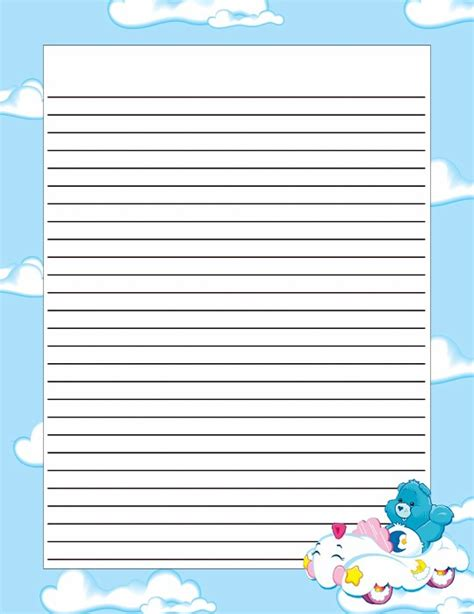 cloud writing paper stationery free printable lined writing paper for boys