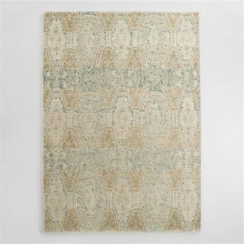 tufted wool area rugs blue and gold tufted wool soraya area rug world market