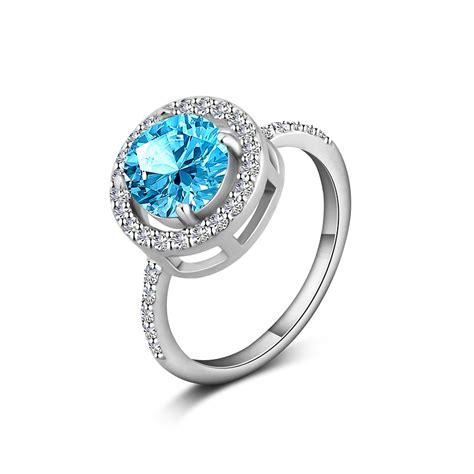 Ring Blue Topaz Sky genuine 7mm gem wedding engagement ring 1 6ct sky blue