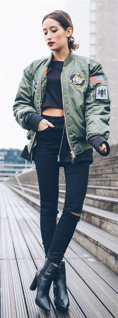 Patched Bomber Jacket army green patched bomber jacket s clothing