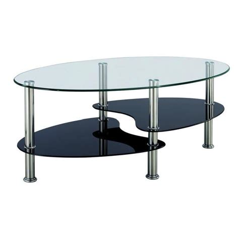 table basse noir et blanc en verre tremp 233 ovale opunake
