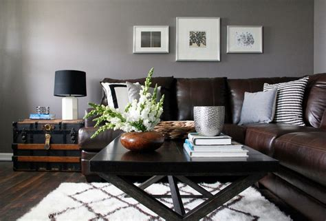 grey walls brown sofa baroque abbyson living in living room contemporary with