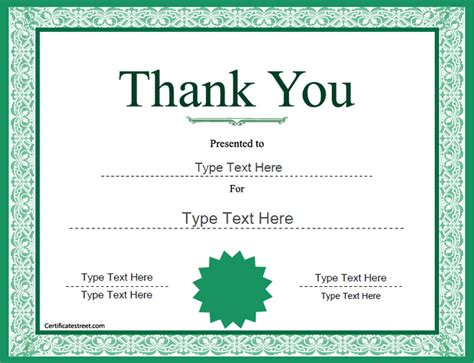 thank you certificate template free special certificates thank you award template
