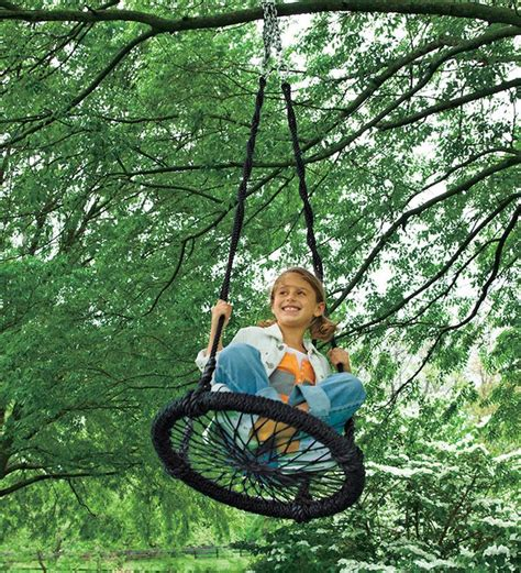 cool outdoor swings round and round nylon rope outdoor swing gift ideas