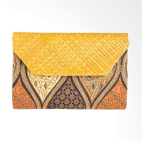 Clutch Anyaman Pandan Clutch Bag Etnik Tas Pesta jual papercut bags arn013 batik mix anyaman pandan sogan 1 clutch brown harga