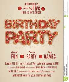 birthday party invitation template with pizza letters