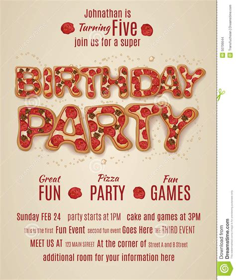 Letter Pizza Birthday Invitation Template With Pizza Letters Stock Vector Image 50706644