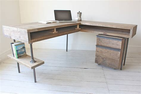 reclaimed wood corner desk stuart industrial reclaimed board corner desk by