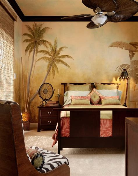 bedroom ideas with tropical wall mural interior design
