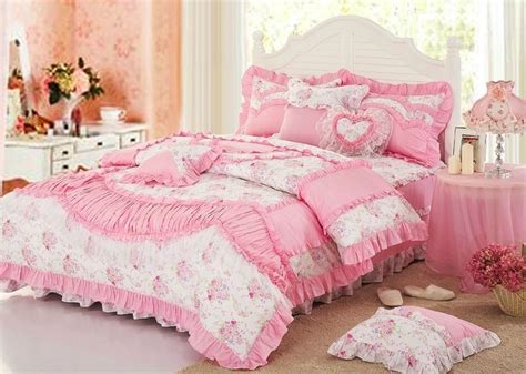 white pink girls lace princess bowtie ruffled bedding