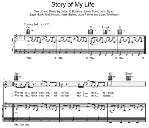 my note my blog my story story of my life one direction partitura purple