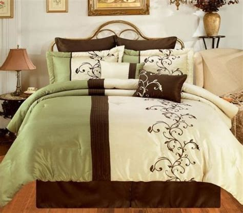 discount bed in a bag discount bed in a bag amber sage brown cream oversize king 8 piece comforter bed in a bag set