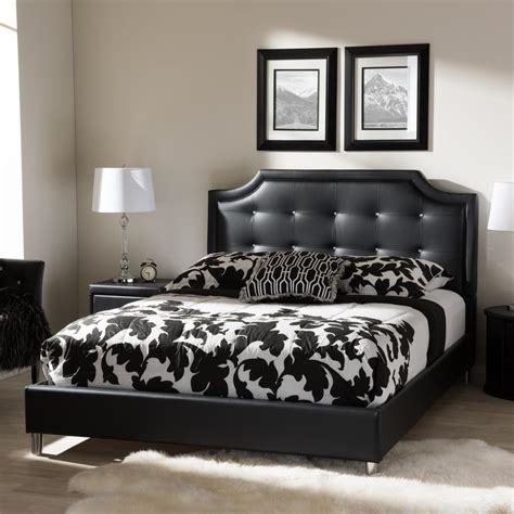 black upholstered bed baxton studio carlotta black queen upholstered bed 28862