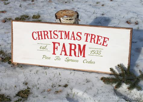 the craft patch christmas tree vintage wooden sign