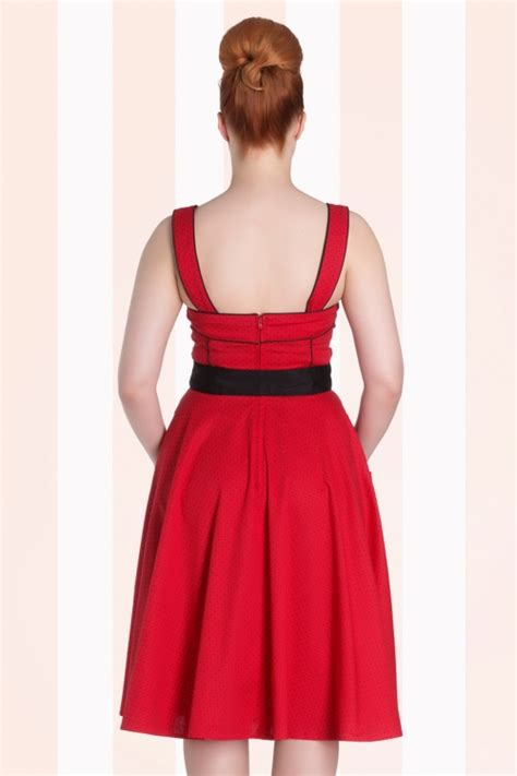 50 swing dress 50s martie polkadot swing dress in red