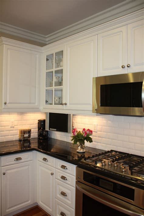 beveled subway tile backsplash kitchen traditional with