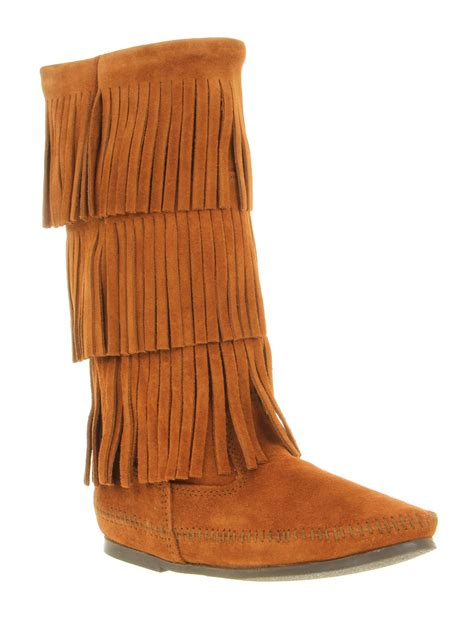 suede boots with fringe minnetonka calf hi layer fringe boot brown suede in brown