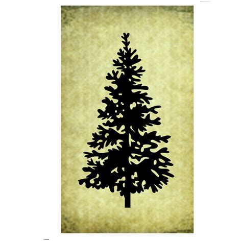 rubber stamp pine tree silhouette christmas evergreen large