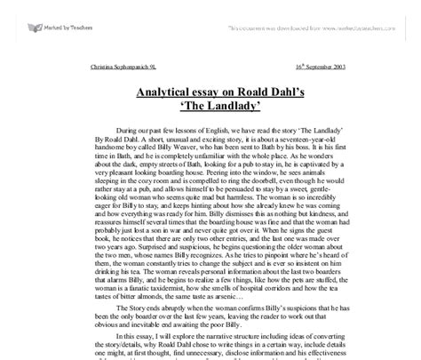The Landlady By Roald Dahl Essay analytical essay on roald dahl s the landlady gcse marked by teachers