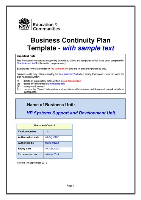template for business continuity plan business continuity plan template e commercewordpress