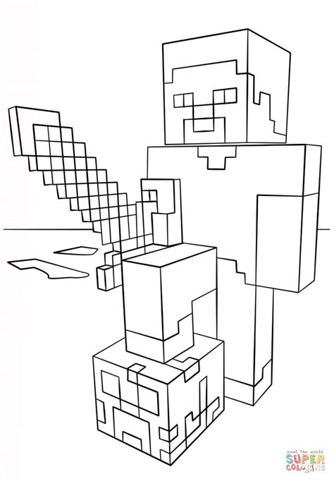 minecraft steve coloring pages free minecraft steve with diamond sword coloring page free