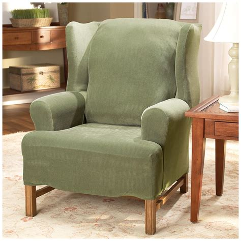 sure fit wing chair recliner slipcover sure fit 174 stretch pearson wing chair slipcover 292826