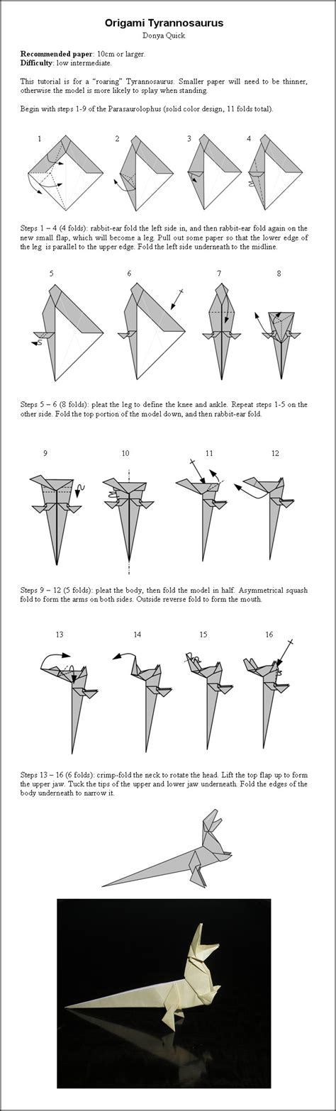 How To Make An Origami T Rex - origami t rex by donyaquick on deviantart