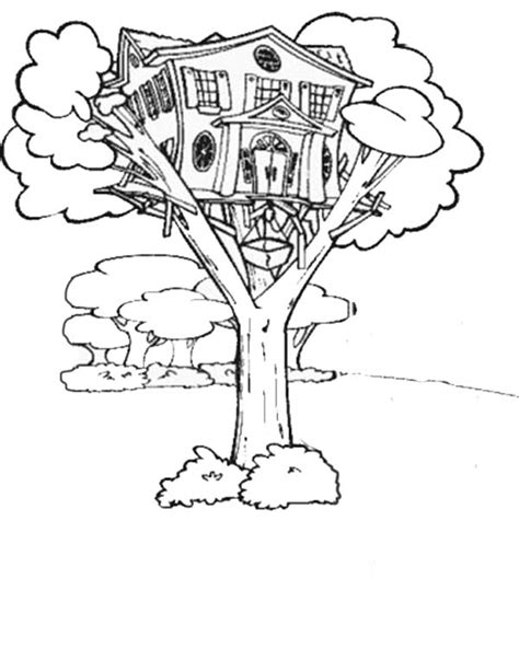 printable tree house tree house coloring pages black white line art book