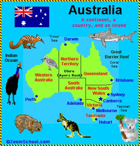australia map with country names and capitals australia