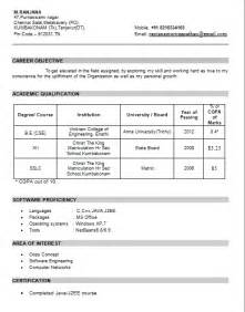 Job Resume Format For Freshers by Resume Format For Freshers