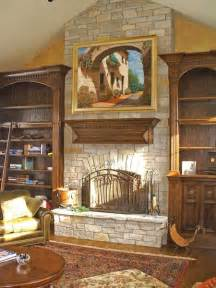 Bookcase With Rolling Ladder Old World Style Mantle With Flanking Bookcases