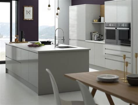 high gloss kitchens white grey gloss units wren kitchens