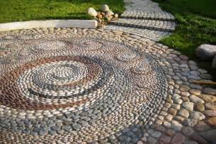 Unique backyard landscaping ideas and garden path designs with pebbles