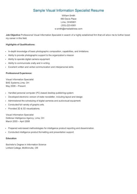 Visual Information Specialist Sle Resume by 17 Best Images About Resame On Skin Care Specialist Supply Management And