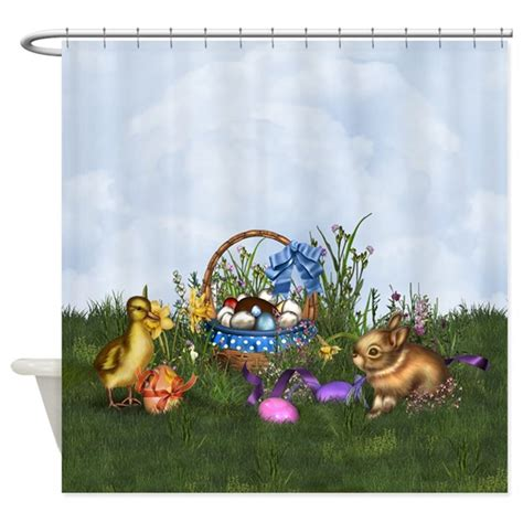 easter shower curtains easter bunny shower curtain by gatterwe