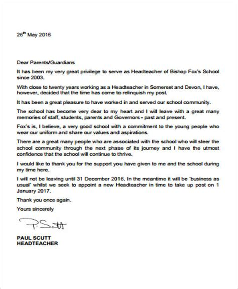 7 sle school resignation letter free sle exle