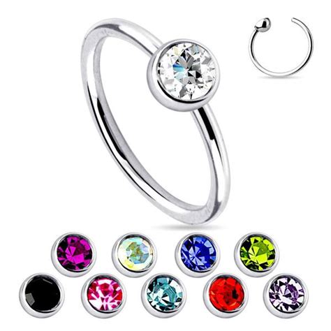 fixed bead ring 20g stainless steel fixed bead ring w cz gem tulsa
