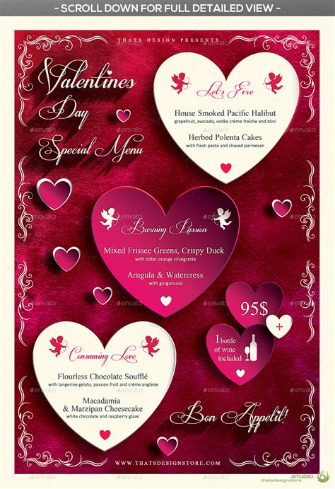 valentines day flyer menu bundle v1 by lou606 graphicriver