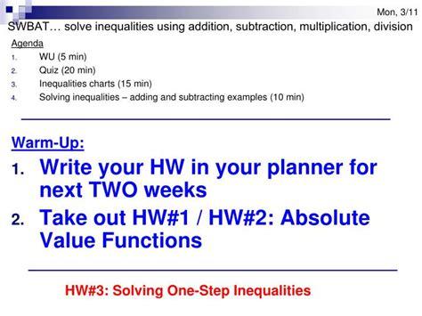 ppt agenda wu 5 min quiz 20 min inequalities charts