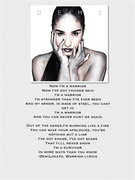 what is demi lovato s warrior song about warrior demi lovato lyric quotes quotesgram
