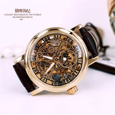 luxury brand s fashion leather band mechanical gold